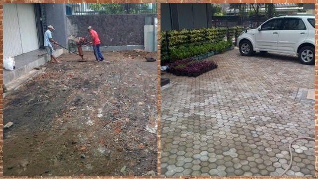 Pekerjaan Paving Block Segi Tiga Area Parkir Jl. Guntur